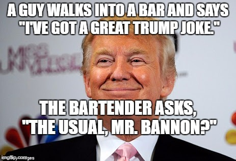 "Donald trump approves | A GUY WALKS INTO A BAR AND SAYS ""I'VE GOT A GREAT TRUMP JOKE."" THE BARTENDER ASKS, ""THE USUAL, MR. BANNON?"" 