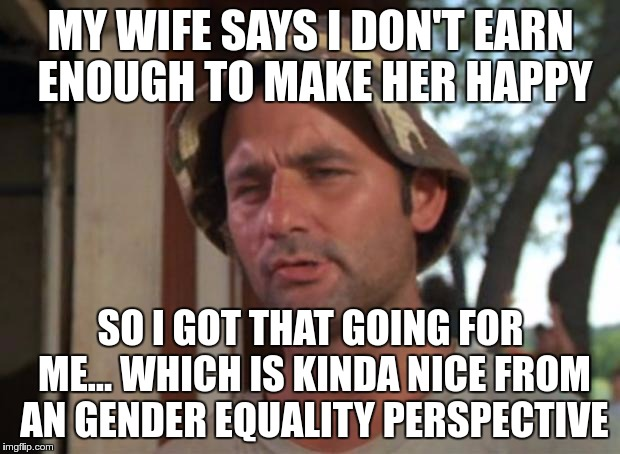 MY WIFE SAYS I DON'T EARN ENOUGH TO MAKE HER HAPPY SO I GOT THAT GOING FOR ME… WHICH IS KINDA NICE FROM AN GENDER EQUALITY PERSPECTIVE | made w/ Imgflip meme maker