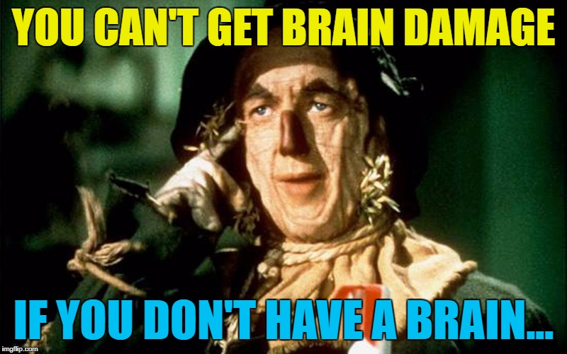 How did he manage to think of that? :) | YOU CAN'T GET BRAIN DAMAGE IF YOU DON'T HAVE A BRAIN... | image tagged in oz scarecrow,memes,roll safe,films,wizard of oz,if i only had a brain | made w/ Imgflip meme maker