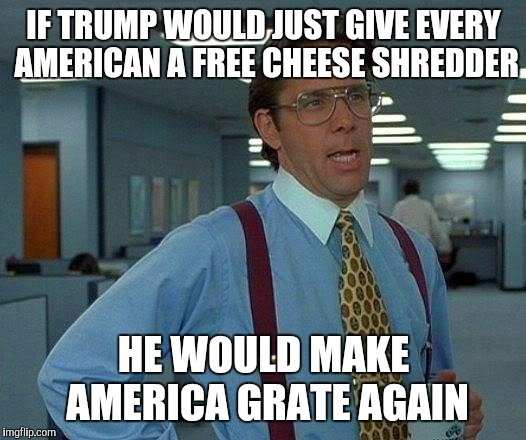 Make America Grate Again!  | IF TRUMP WOULD JUST GIVE EVERY AMERICAN A FREE CHEESE SHREDDER HE WOULD MAKE AMERICA GRATE AGAIN | image tagged in memes,that would be great,make america great again,jbmemegeek,trump,donald trump | made w/ Imgflip meme maker