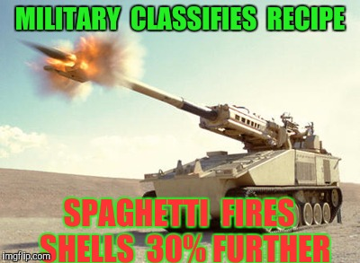 MILITARY  CLASSIFIES  RECIPE SPAGHETTI  FIRES  SHELLS  30% FURTHER | made w/ Imgflip meme maker