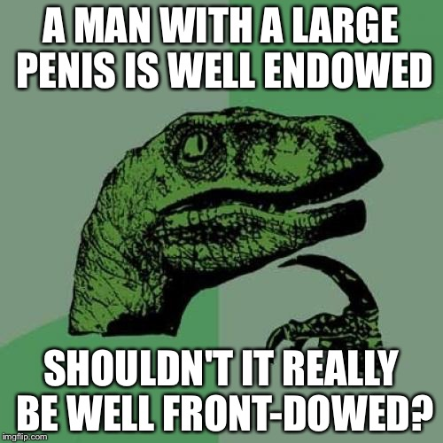 Philosoraptor Meme | A MAN WITH A LARGE P**IS IS WELL ENDOWED SHOULDN'T IT REALLY BE WELL FRONT-DOWED? | image tagged in memes,philosoraptor | made w/ Imgflip meme maker
