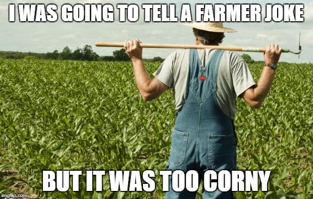 Bad luck farmer? | I WAS GOING TO TELL A FARMER JOKE BUT IT WAS TOO CORNY | image tagged in farmer | made w/ Imgflip meme maker