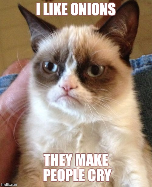 Grumpy Cat Meme | I LIKE ONIONS THEY MAKE PEOPLE CRY | image tagged in memes,grumpy cat | made w/ Imgflip meme maker