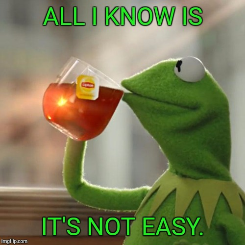 But Thats None Of My Business Meme | ALL I KNOW IS IT'S NOT EASY. | image tagged in memes,but thats none of my business,kermit the frog | made w/ Imgflip meme maker