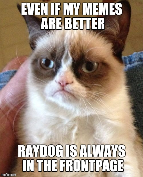 Grumpy Cat Meme | EVEN IF MY MEMES ARE BETTER RAYDOG IS ALWAYS IN THE FRONTPAGE | image tagged in memes,grumpy cat | made w/ Imgflip meme maker