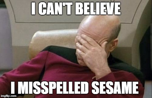 Captain Picard Facepalm Meme | I CAN'T BELIEVE I MISSPELLED SESAME | image tagged in memes,captain picard facepalm | made w/ Imgflip meme maker