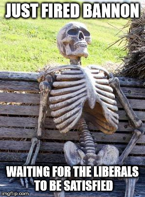 Waiting Skeleton Meme | JUST FIRED BANNON WAITING FOR THE LIBERALS TO BE SATISFIED | image tagged in memes,waiting skeleton | made w/ Imgflip meme maker