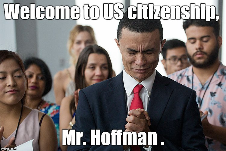 Gleidson Hoffman, from Brazil, becomes emotional during his naturalization ceremony in New York, NY. Photo by Mark Lennihan AP. | Welcome to US citizenship, Mr. Hoffman . | image tagged in america,citizenship,new citizens,ap photo m lennihan | made w/ Imgflip meme maker
