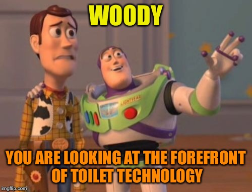 X, X Everywhere Meme | WOODY YOU ARE LOOKING AT THE FOREFRONT OF TOILET TECHNOLOGY | image tagged in memes,x,x everywhere,x x everywhere | made w/ Imgflip meme maker