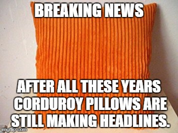 BREAKING NEWS AFTER ALL THESE YEARS CORDUROY PILLOWS ARE STILL MAKING HEADLINES. | image tagged in bad pun,corduroy pillow | made w/ Imgflip meme maker