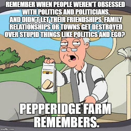 Pepperidge Farm Remembers Meme | REMEMBER WHEN PEOPLE WEREN'T OBSESSED WITH POLITICS AND POLITICIANS, AND DIDN'T LET THEIR FRIENDSHIPS, FAMILY RELATIONSHIPS OR TOWNS GET DES | image tagged in memes,pepperidge farm remembers | made w/ Imgflip meme maker