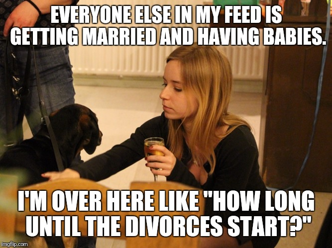 "dogs and alcohol | EVERYONE ELSE IN MY FEED IS GETTING MARRIED AND HAVING BABIES. I'M OVER HERE LIKE ""HOW LONG UNTIL THE DIVORCES START?"" 