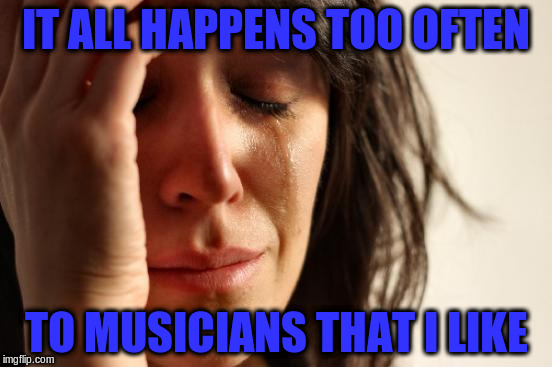First World Problems Meme | IT ALL HAPPENS TOO OFTEN TO MUSICIANS THAT I LIKE | image tagged in memes,first world problems | made w/ Imgflip meme maker