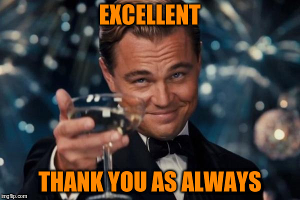 Leonardo Dicaprio Cheers Meme | EXCELLENT THANK YOU AS ALWAYS | image tagged in memes,leonardo dicaprio cheers | made w/ Imgflip meme maker