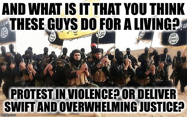 AND WHAT IS IT THAT YOU THINK THESE GUYS DO FOR A LIVING? PROTEST IN VIOLENCE? OR DELIVER SWIFT AND OVERWHELMING JUSTICE? | made w/ Imgflip meme maker