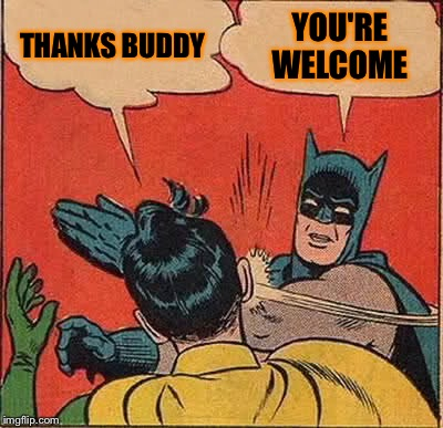 Batman Slapping Robin Meme | THANKS BUDDY YOU'RE WELCOME | image tagged in memes,batman slapping robin | made w/ Imgflip meme maker