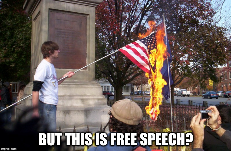 Statues are offensive and must come down | BUT THIS IS FREE SPEECH? | image tagged in burning flag | made w/ Imgflip meme maker