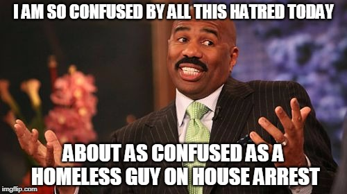 Steve Harvey Meme | I AM SO CONFUSED BY ALL THIS HATRED TODAY ABOUT AS CONFUSED AS A HOMELESS GUY ON HOUSE ARREST | image tagged in memes,steve harvey | made w/ Imgflip meme maker