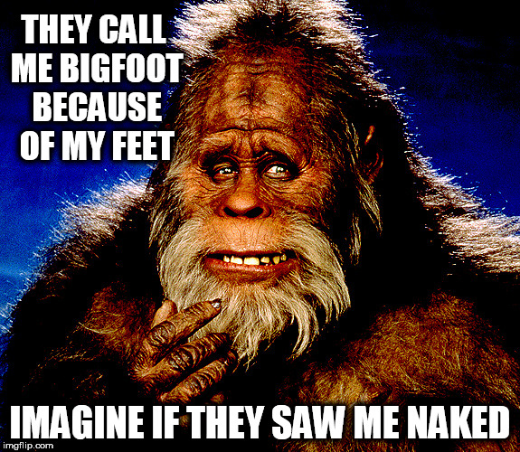 Bigfoot2 | THEY CALL ME BIGFOOT BECAUSE OF MY FEET IMAGINE IF THEY SAW ME NAKED | image tagged in bigfoot2,bigfoot,naked,feet,penis jokes,dick | made w/ Imgflip meme maker