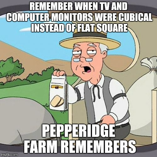 Pepperidge Farm Remembers Meme | REMEMBER WHEN TV AND COMPUTER MONITORS WERE CUBICAL INSTEAD OF FLAT SQUARE PEPPERIDGE FARM REMEMBERS | image tagged in memes,pepperidge farm remembers | made w/ Imgflip meme maker