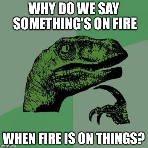 Philosoraptor Meme | WHY DO WE SAY SOMETHING'S ON FIRE WHEN FIRE IS ON THINGS? | image tagged in memes,philosoraptor | made w/ Imgflip meme maker