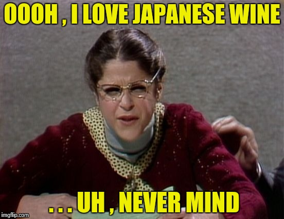 Emily Litella | OOOH , I LOVE JAPANESE WINE . . . UH , NEVER MIND | image tagged in emily litella | made w/ Imgflip meme maker