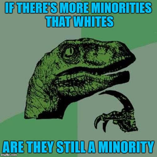 Philosoraptor Meme | IF THERE'S MORE MINORITIES THAT WHITES ARE THEY STILL A MINORITY | image tagged in memes,philosoraptor | made w/ Imgflip meme maker