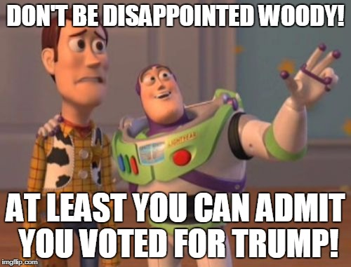 X, X Everywhere Meme | DON'T BE DISAPPOINTED WOODY! AT LEAST YOU CAN ADMIT YOU VOTED FOR TRUMP! | image tagged in memes,x,x everywhere,x x everywhere | made w/ Imgflip meme maker