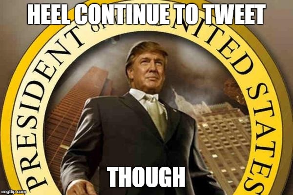 trump | HEEL CONTINUE TO TWEET THOUGH | image tagged in trump | made w/ Imgflip meme maker