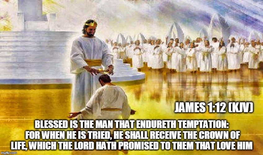 James 1:12 | BLESSED IS THE MAN THAT ENDURETH TEMPTATION: FOR WHEN HE IS TRIED, HE SHALL RECEIVE THE CROWN OF LIFE, WHICH THE LORD HATH PROMISED TO THEM  | image tagged in holy bible,scripture | made w/ Imgflip meme maker