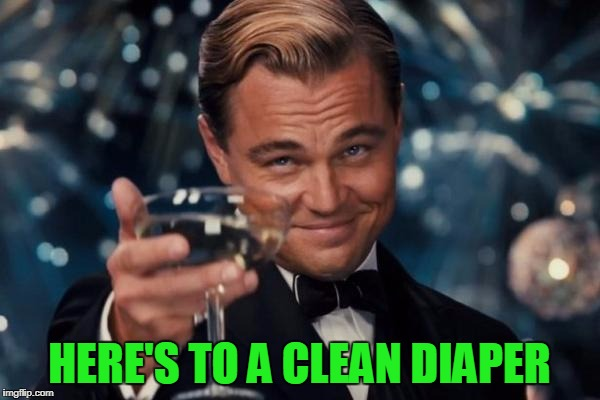 Leonardo Dicaprio Cheers Meme | HERE'S TO A CLEAN DIAPER | image tagged in memes,leonardo dicaprio cheers | made w/ Imgflip meme maker