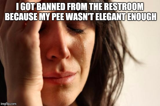 First World Problems Meme | I GOT BANNED FROM THE RESTROOM BECAUSE MY PEE WASN'T ELEGANT ENOUGH | image tagged in memes,first world problems | made w/ Imgflip meme maker