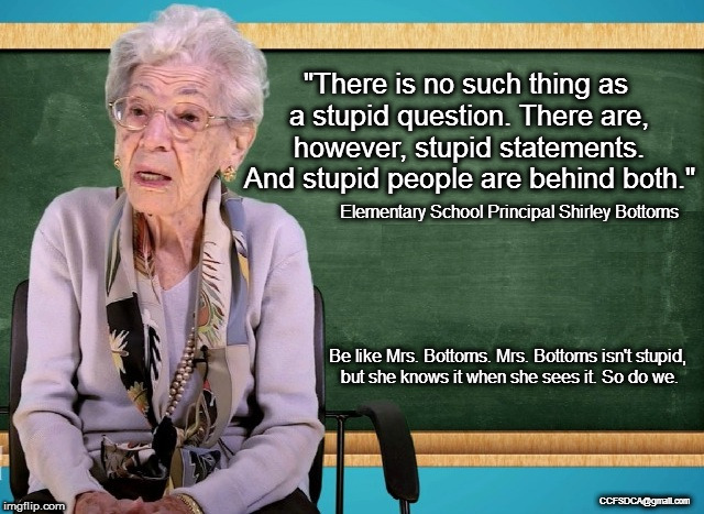 "Mrs. Bottoms knows Stupid | ""There is no such thing as a stupid question. There are, however, stupid statements. And stupid people are behind both."" Be like Mrs. Bottom 