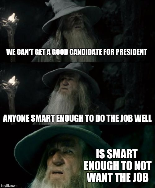Confused Gandalf Meme | WE CAN'T GET A GOOD CANDIDATE FOR PRESIDENT ANYONE SMART ENOUGH TO DO THE JOB WELL IS SMART ENOUGH TO NOT WANT THE JOB | image tagged in memes,confused gandalf | made w/ Imgflip meme maker