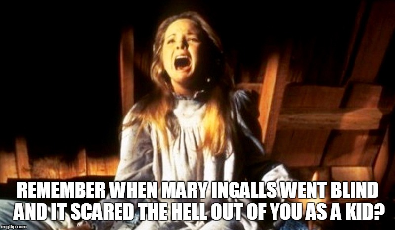 Mary Ingalls  | REMEMBER WHEN MARY INGALLS WENT BLIND AND IT SCARED THE HELL OUT OF YOU AS A KID? | image tagged in little house on the prairie,mary ingalls,blind,solar eclipse,childhood ruined | made w/ Imgflip meme maker