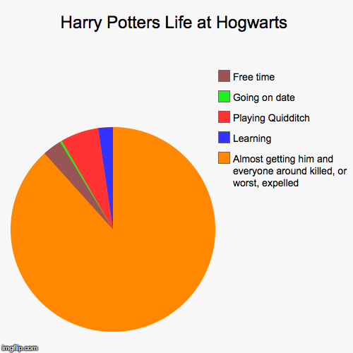 Harry Potters Life at Hogwarts | Almost getting him and everyone around killed, or worst, expelled  , Learning, Playing Quidditch , Going on | image tagged in funny,pie charts | made w/ Imgflip pie chart maker