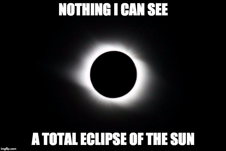 Bonnie Tyler's newest hit! | NOTHING I CAN SEE A TOTAL ECLIPSE OF THE SUN | image tagged in memes,puns,solar eclipse,bonnie tyler | made w/ Imgflip meme maker