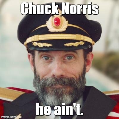captain obvious | Chuck Norris he ain't. | image tagged in captain obvious | made w/ Imgflip meme maker