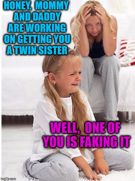 whine | HONEY,  MOMMY AND DADDY ARE WORKING ON GETTING YOU A TWIN SISTER WELL,  ONE OF YOU IS FAKING IT | image tagged in whine | made w/ Imgflip meme maker