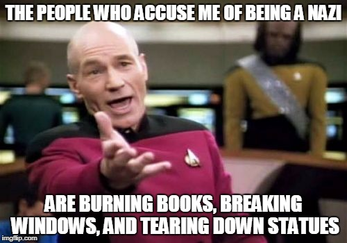 Does nobody see the irony in this? | THE PEOPLE WHO ACCUSE ME OF BEING A NAZI ARE BURNING BOOKS, BREAKING WINDOWS, AND TEARING DOWN STATUES | image tagged in memes,picard wtf,liberal hypocrisy,nazis,statues,funny memes | made w/ Imgflip meme maker