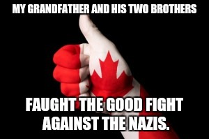 MY GRANDFATHER AND HIS TWO BROTHERS FAUGHT THE GOOD FIGHT AGAINST THE NAZIS. | made w/ Imgflip meme maker