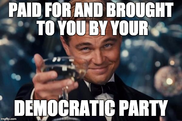 Leonardo Dicaprio Cheers Meme | PAID FOR AND BROUGHT TO YOU BY YOUR DEMOCRATIC PARTY | image tagged in memes,leonardo dicaprio cheers | made w/ Imgflip meme maker
