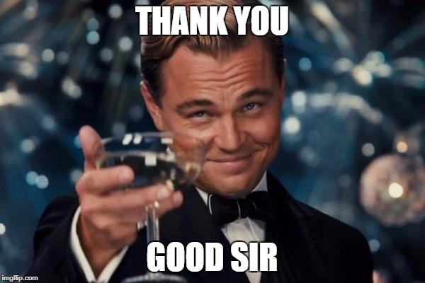 Leonardo Dicaprio Cheers Meme | THANK YOU GOOD SIR | image tagged in memes,leonardo dicaprio cheers | made w/ Imgflip meme maker