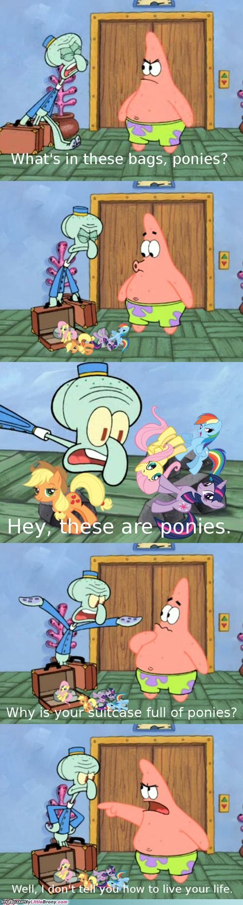 image tagged in memes,my little pony,patrick star,squidward | made w/ Imgflip meme maker
