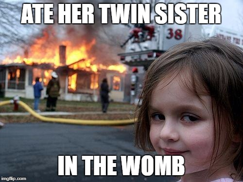 Disaster Girl Meme | ATE HER TWIN SISTER IN THE WOMB | image tagged in memes,disaster girl | made w/ Imgflip meme maker
