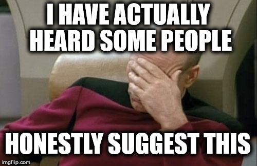 Captain Picard Facepalm Meme | I HAVE ACTUALLY HEARD SOME PEOPLE HONESTLY SUGGEST THIS | image tagged in memes,captain picard facepalm | made w/ Imgflip meme maker