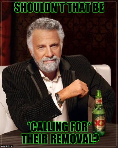 The Most Interesting Man In The World Meme | SHOULDN'T THAT BE *CALLING FOR* THEIR REMOVAL? | image tagged in memes,the most interesting man in the world | made w/ Imgflip meme maker