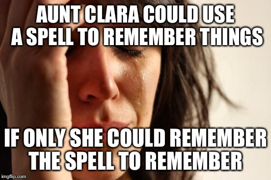 First World Problems Meme | AUNT CLARA COULD USE A SPELL TO REMEMBER THINGS IF ONLY SHE COULD REMEMBER THE SPELL TO REMEMBER | image tagged in memes,first world problems | made w/ Imgflip meme maker