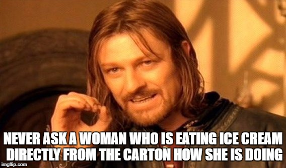 One Does Not Simply Meme | NEVER ASK A WOMAN WHO IS EATING ICE CREAM DIRECTLY FROM THE CARTON HOW SHE IS DOING | image tagged in memes,one does not simply | made w/ Imgflip meme maker
